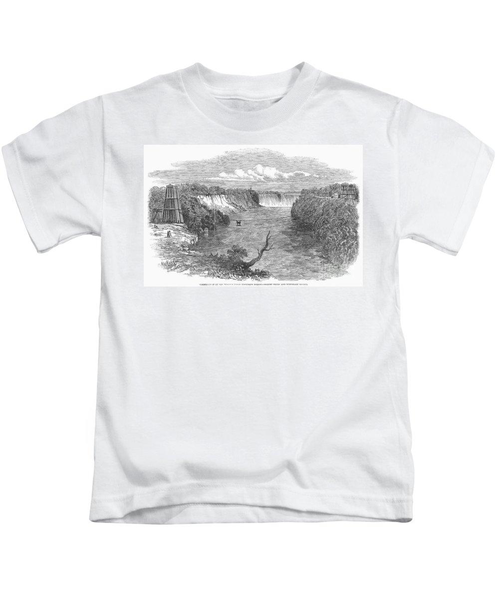 1849 Kids T-Shirt featuring the photograph Niagara Falls, 1849 by Granger