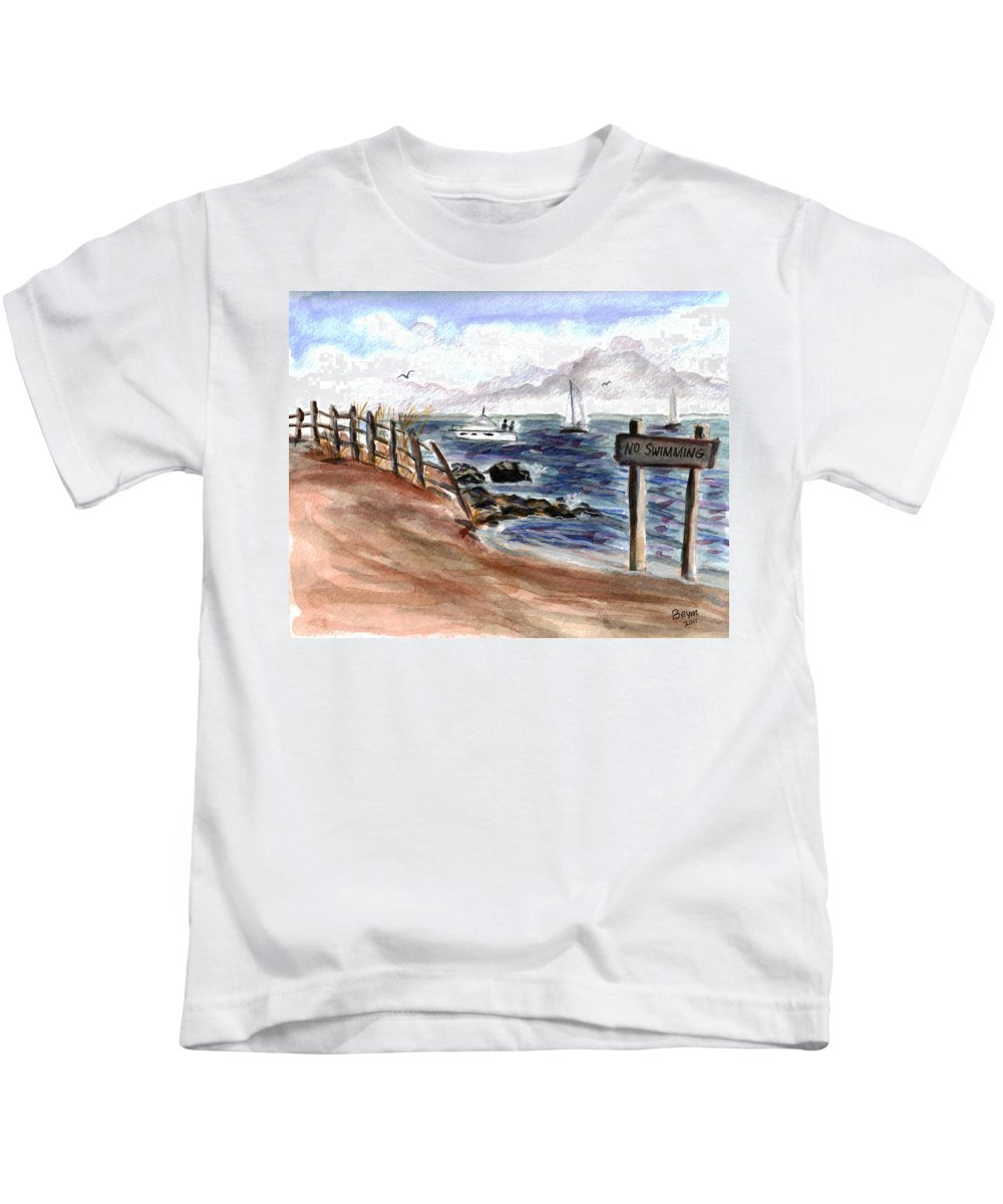 Beach Kids T-Shirt featuring the painting No Swimming by Clara Sue Beym