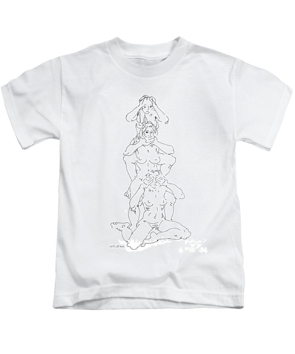 Females Kids T-Shirt featuring the drawing Nude Female Drawings 5 by Gordon Punt