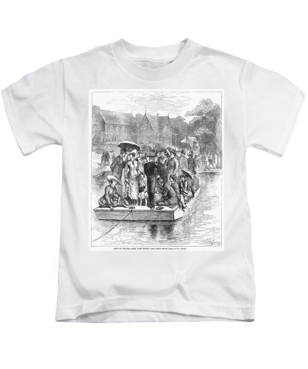 1878 Kids T-Shirt featuring the photograph Ocean Grove Ferry, 1878 by Granger
