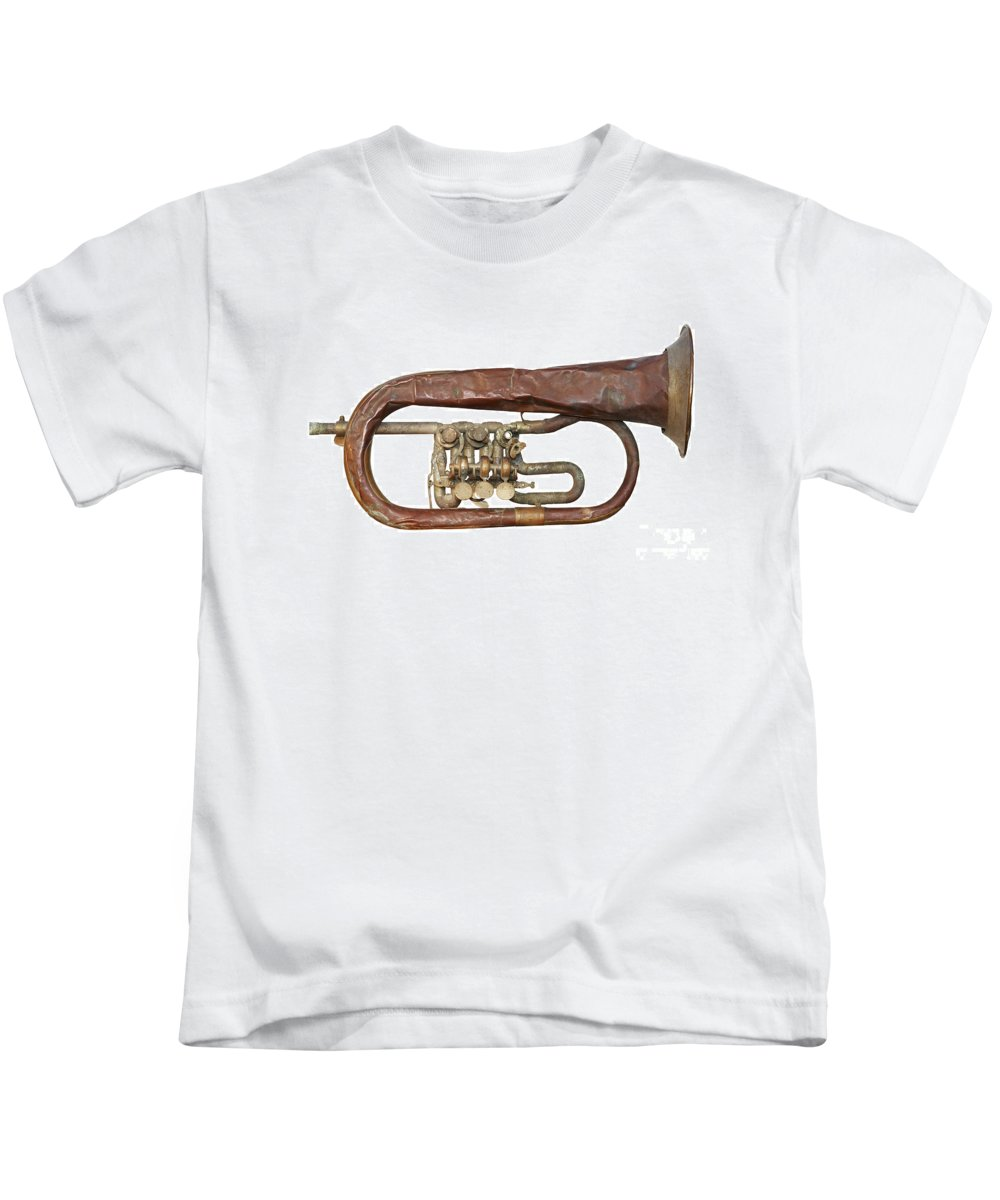 Trumpet Kids T-Shirt featuring the photograph Old Broken Trumpet - Isolated by Michal Boubin