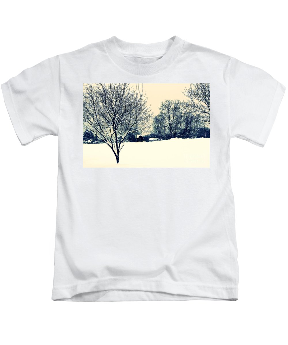 Alone Kids T-Shirt featuring the photograph Old Country Christmas 3 by Dan Stone