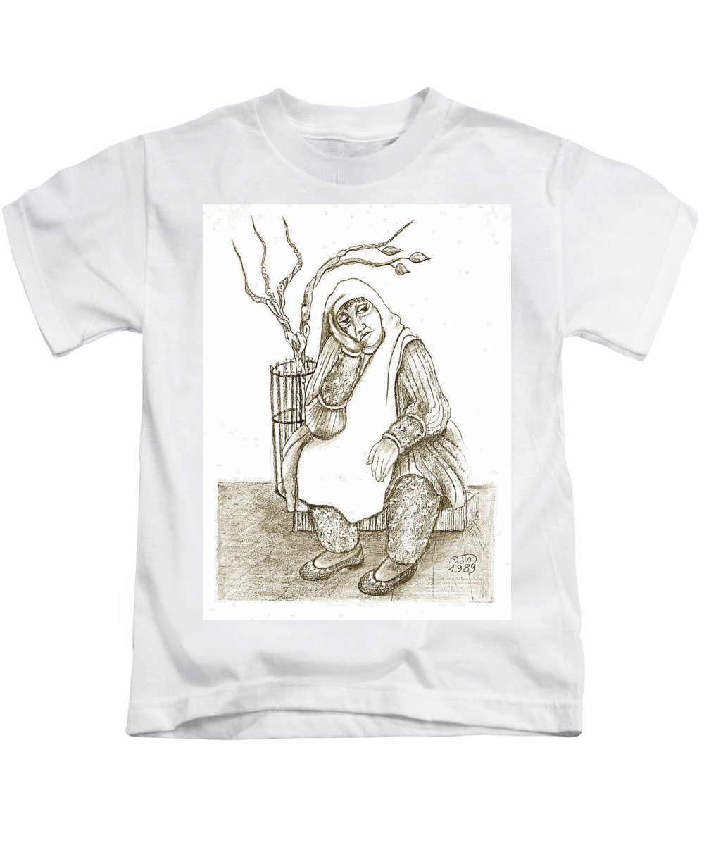 Old Woman Kids T-Shirt featuring the painting Old Woman In The Street Sitting Near A Tree On A Bench Looking Sad And Tired by Rachel Hershkovitz