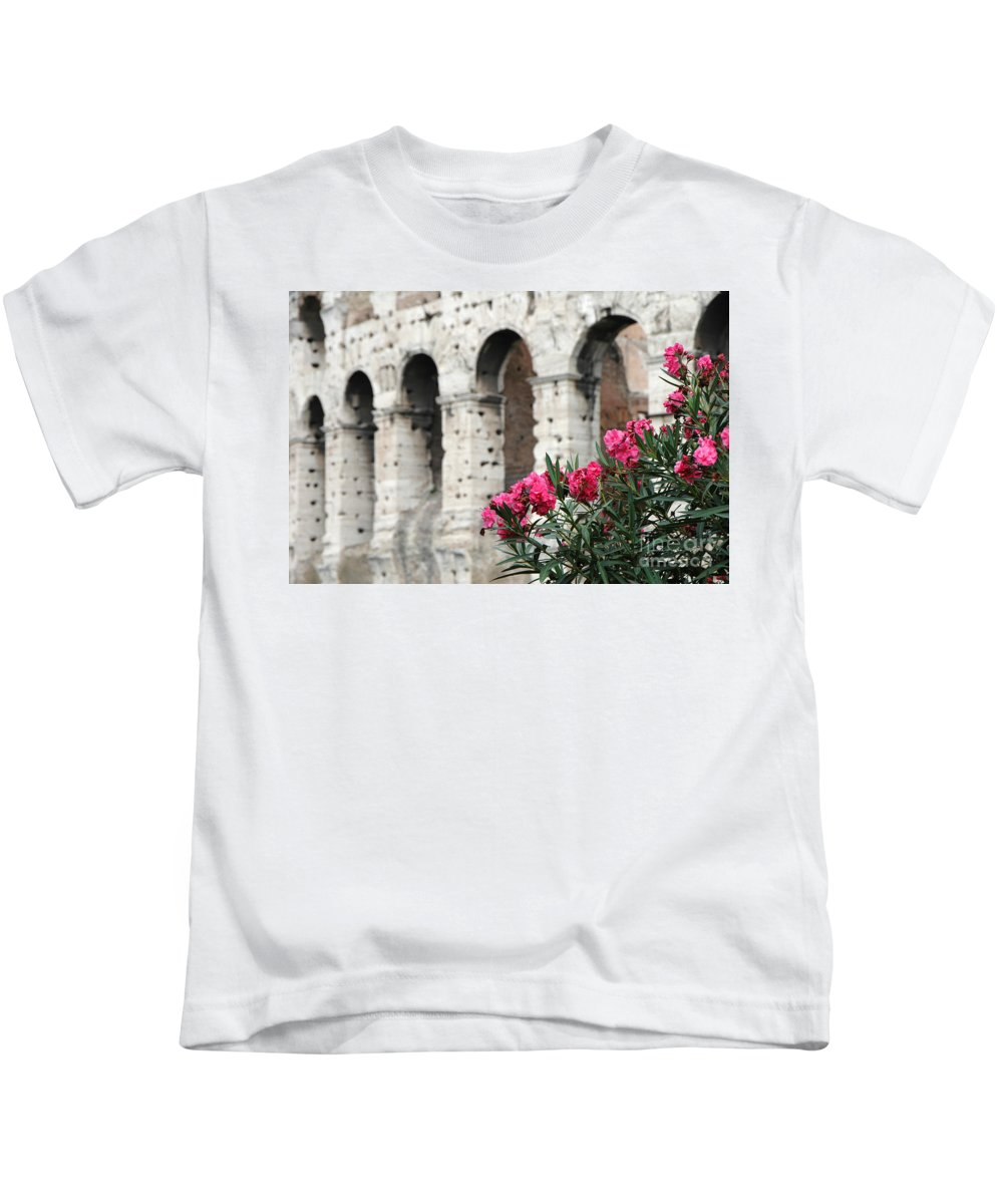Oleander Kids T-Shirt featuring the photograph Oleander And Colosseum by Mike Nellums