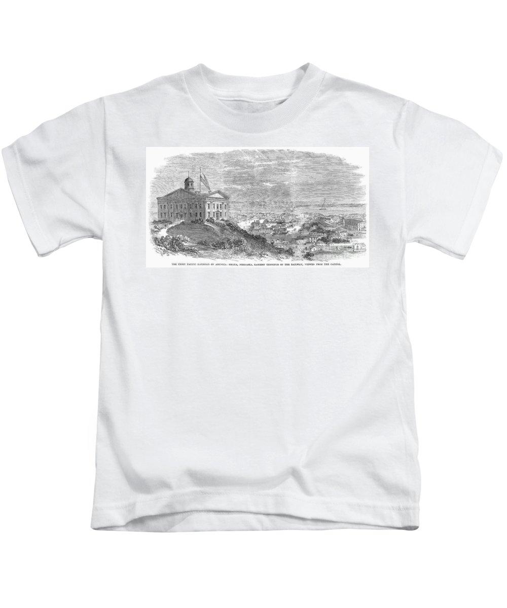 1869 Kids T-Shirt featuring the photograph Omaha, Nebraska, 1869 by Granger