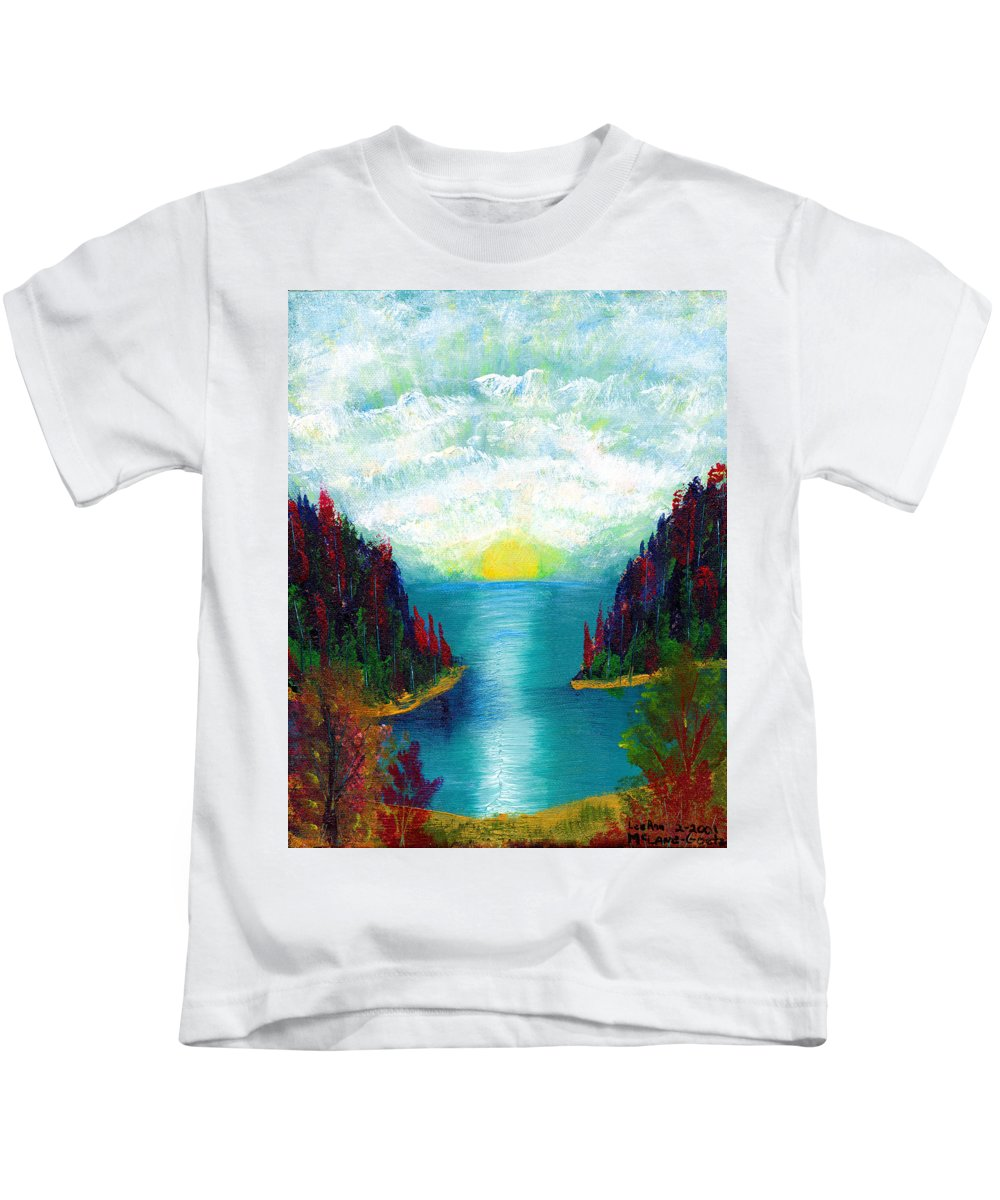 Landscapes Kids T-Shirt featuring the painting One More Sunset by LeeAnn McLaneGoetz McLaneGoetzStudioLLCcom