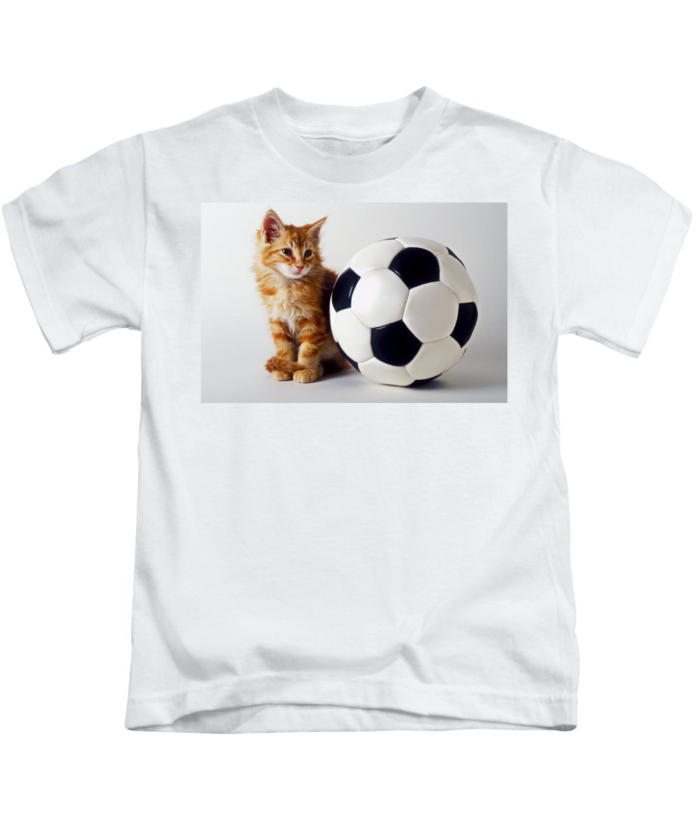 Cat Kids T-Shirt featuring the photograph Orange And White Kitten With Soccor Ball by Garry Gay