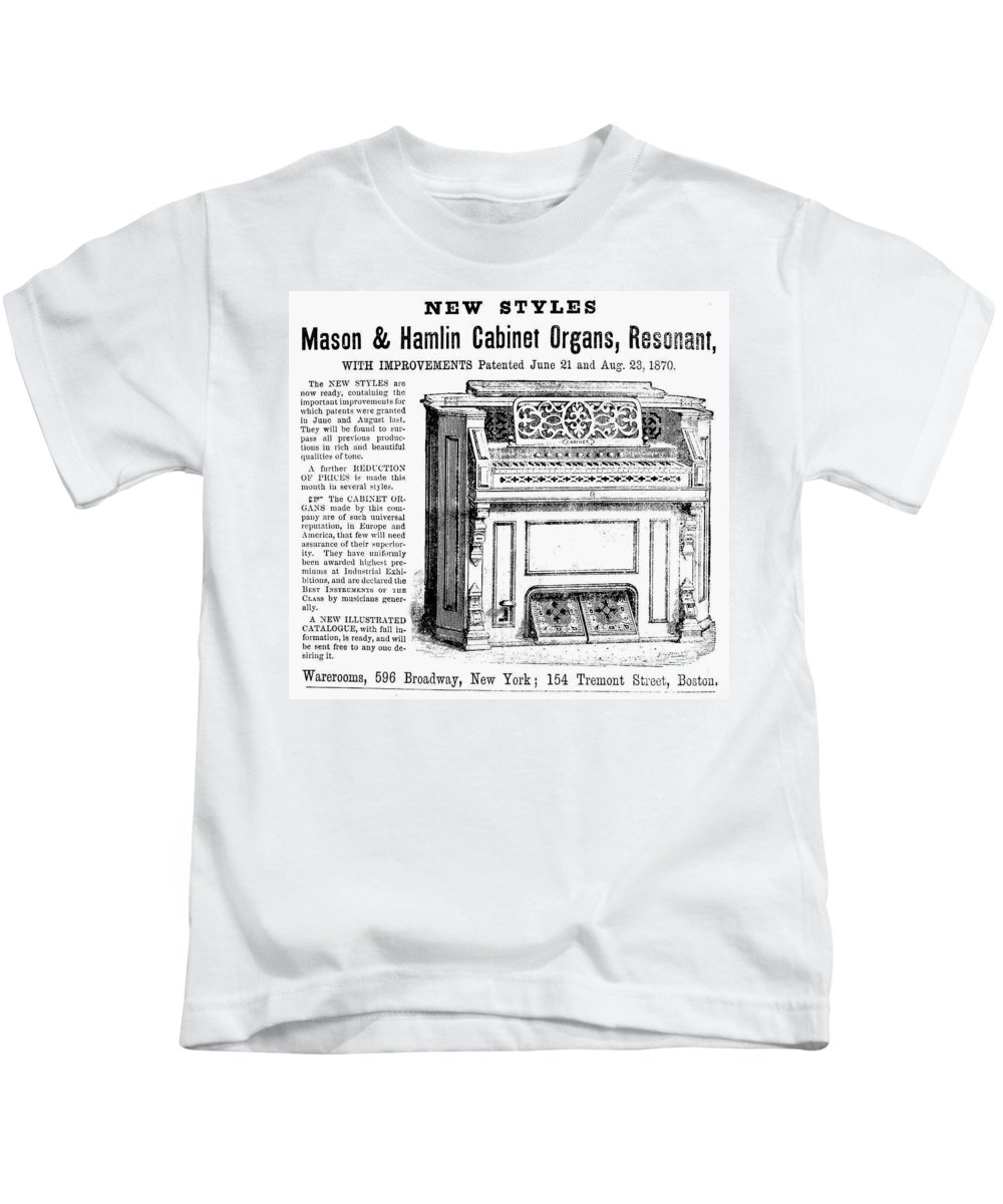 1870 Kids T-Shirt featuring the photograph Organ Ad, 1870 by Granger