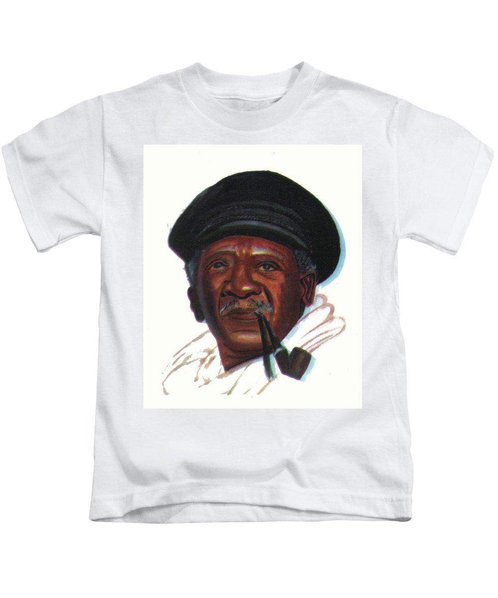 Portraits Kids T-Shirt featuring the painting Ousmane Sembene by Emmanuel Baliyanga