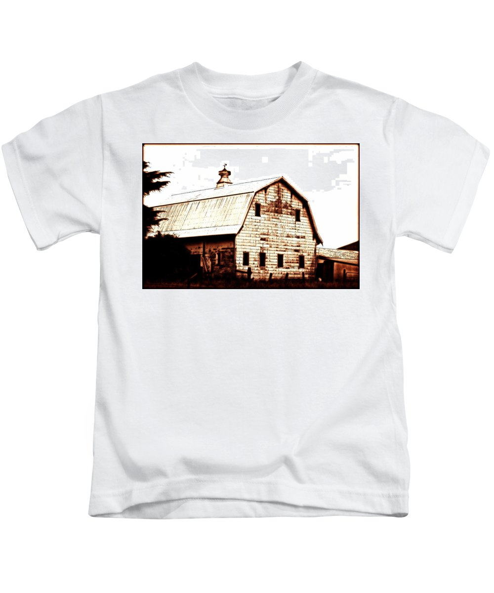 Barn Kids T-Shirt featuring the digital art Out West by Kathy Sampson