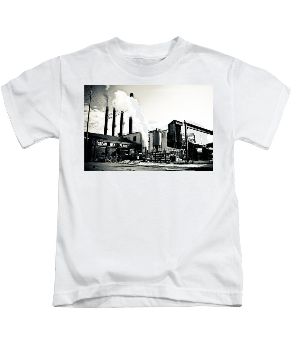 Youngstown Ohio Steel Mill Sepia Urbanx Urban Factory Steam Heat Plant Decay Blight 1930's Northeast Kids T-Shirt featuring the photograph Outsiders by Jimmy Taaffe