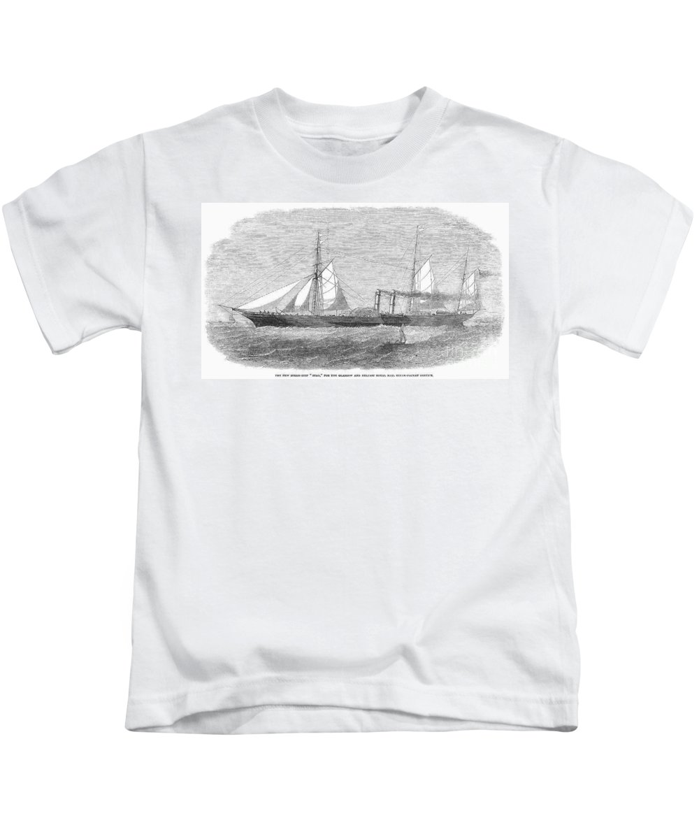 1853 Kids T-Shirt featuring the photograph Paddle Wheel Packet Ship by Granger