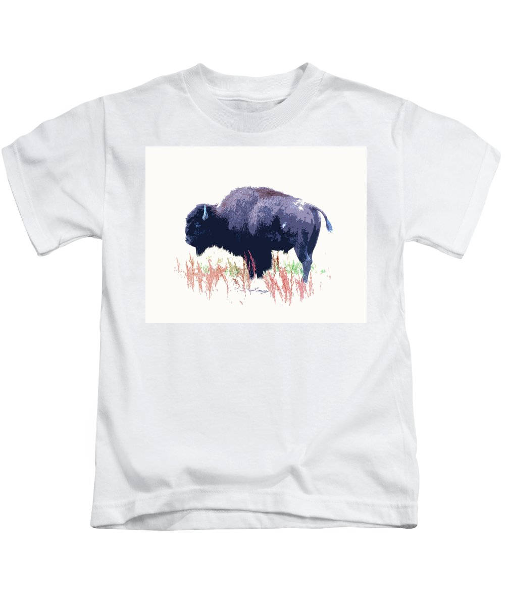 Buffalo Kids T-Shirt featuring the photograph Painted Buffalo by Steve McKinzie