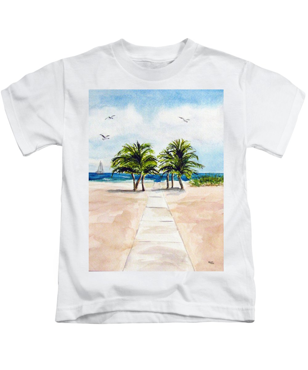 Palm Trees Kids T-Shirt featuring the painting Palm Trees by Clara Sue Beym