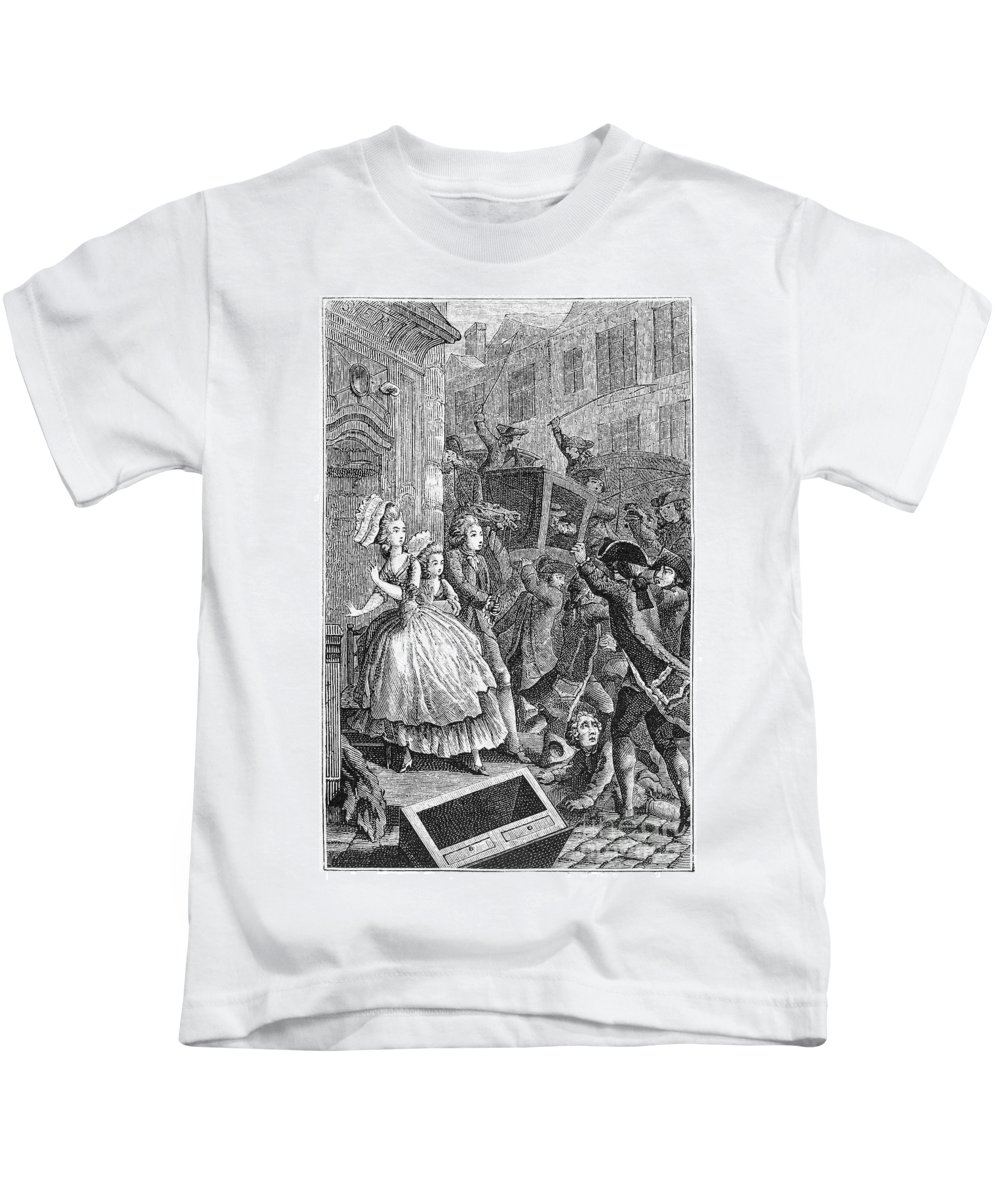 18th Century Kids T-Shirt featuring the photograph Paris: Uproar In The Street by Granger