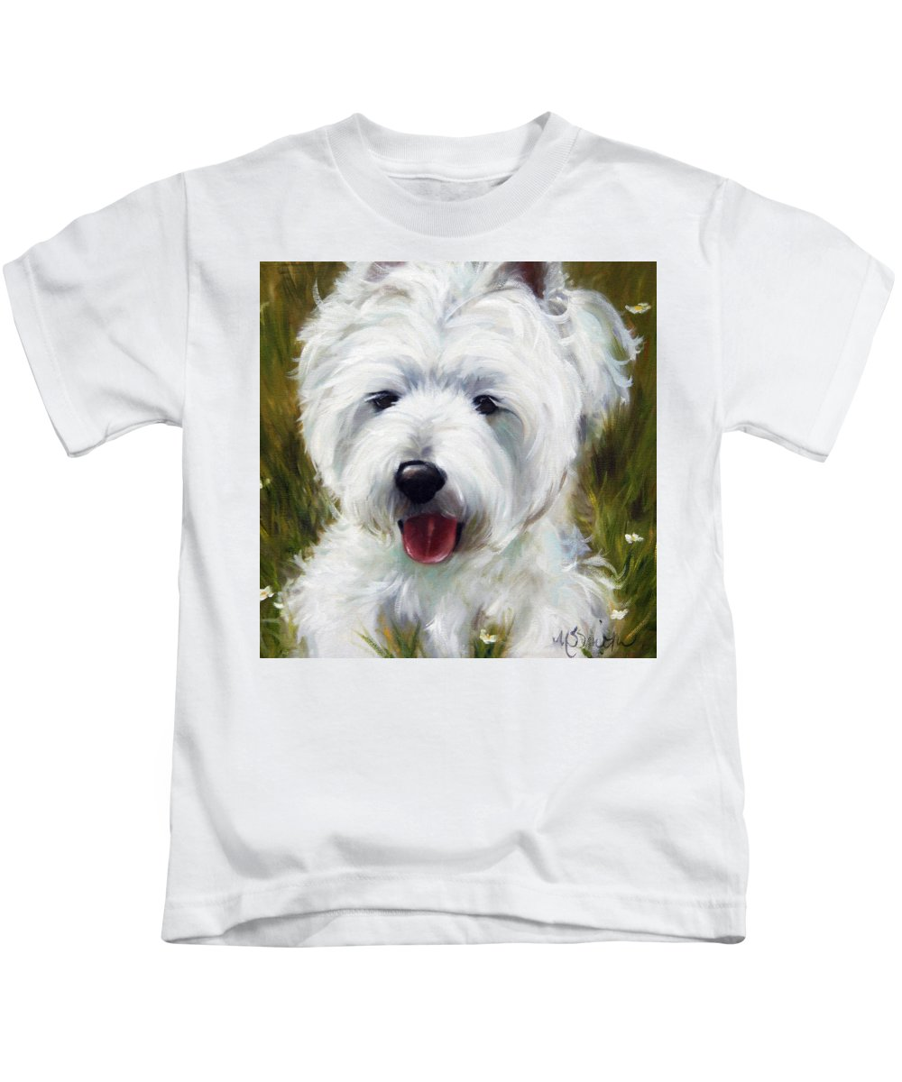 Art Kids T-Shirt featuring the painting Patton by Mary Sparrow
