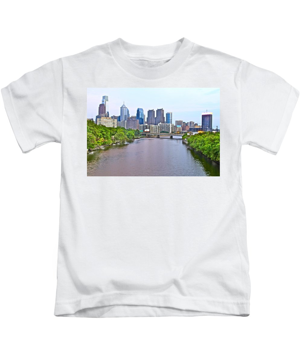 Philadelphia Waterway Water Schulykill River Philly Scenic Kids T-Shirt featuring the photograph Philly By Water by Alice Gipson