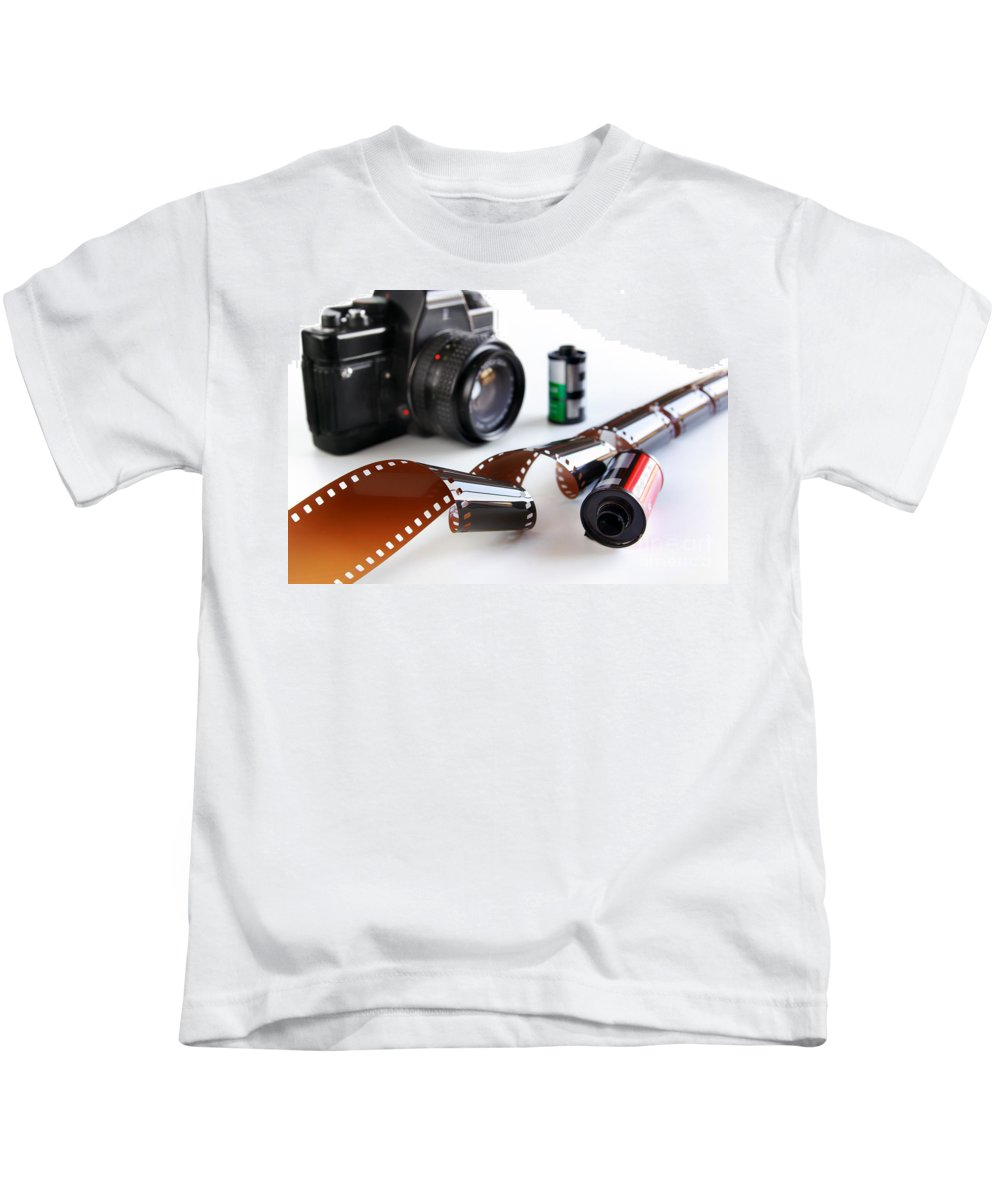 35mm Kids T-Shirt featuring the photograph Photography Gear by Carlos Caetano
