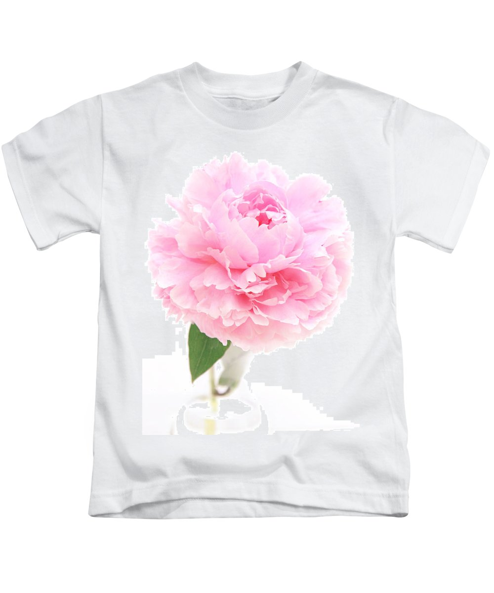 Pink Kids T-Shirt featuring the photograph Pink Peony In Glass Vase by Susan Wall