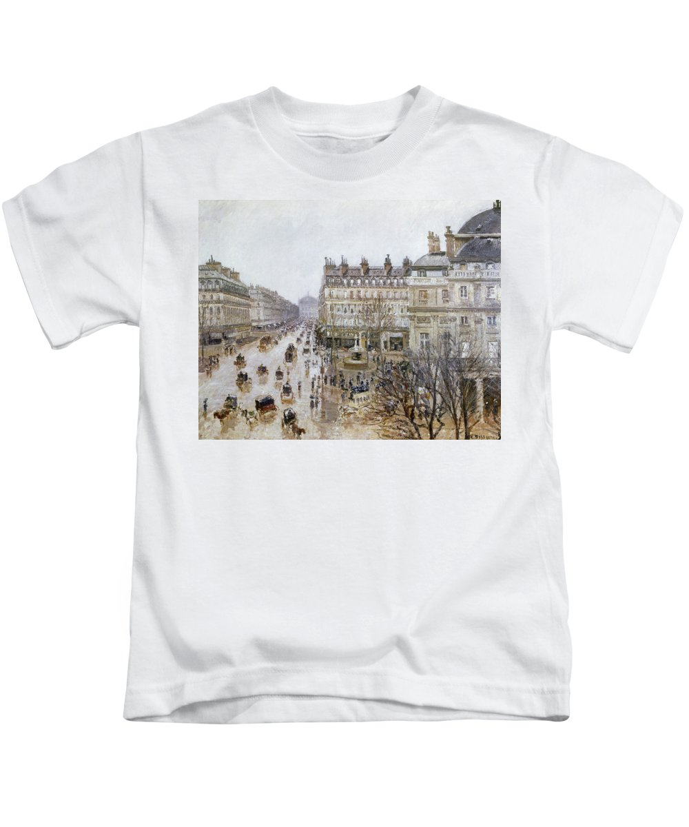 1898 Kids T-Shirt featuring the photograph Pissarro: Theatre Francais by Granger
