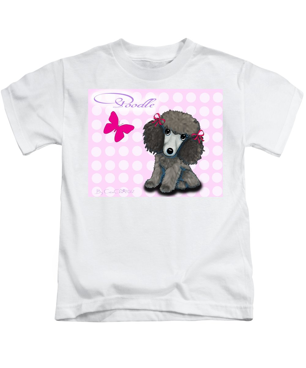 Poodle Kids T-Shirt featuring the mixed media Poodle Cartoon by Catia Lee