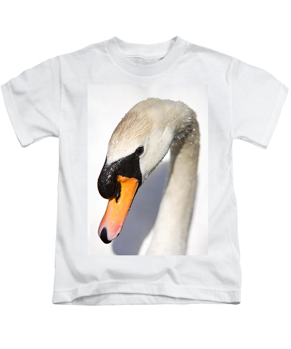 Swan Kids T-Shirt featuring the photograph Portrait Of A Swan by Mark Heywood