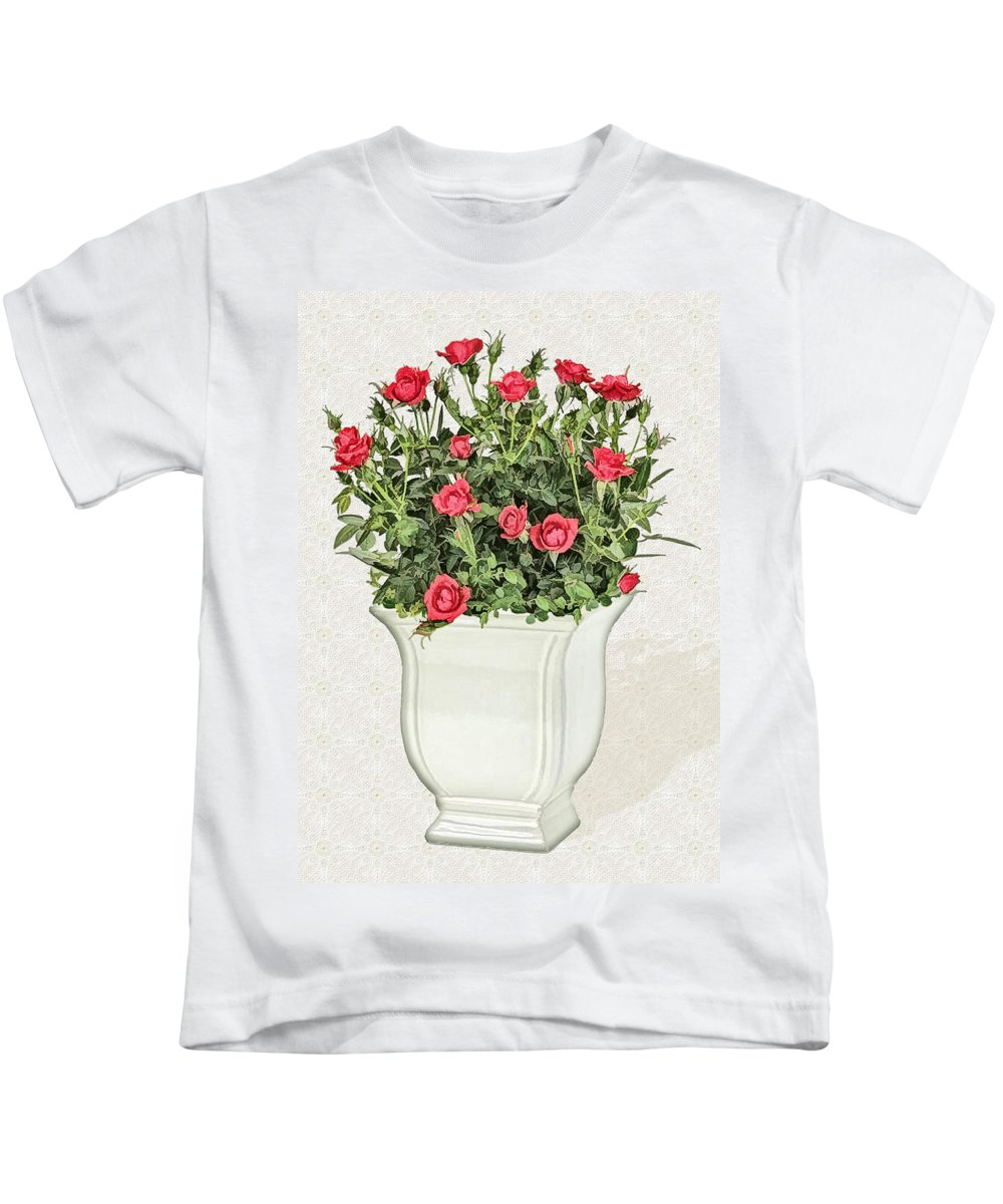 Floral Kids T-Shirt featuring the painting Pot Of Red Roses On Lace Background by Elaine Plesser