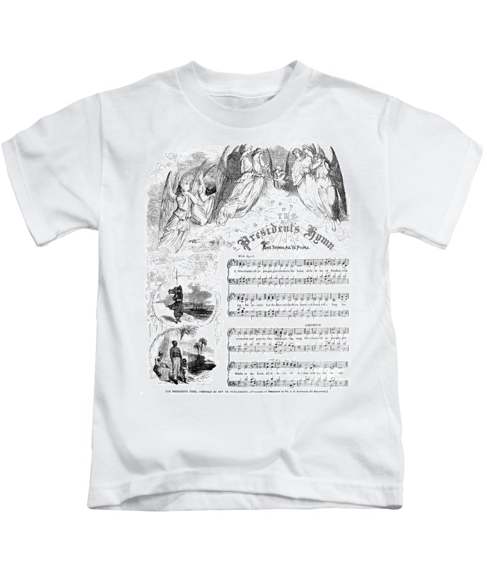 1863 Kids T-Shirt featuring the photograph Presidents Hymn, 1863 by Granger