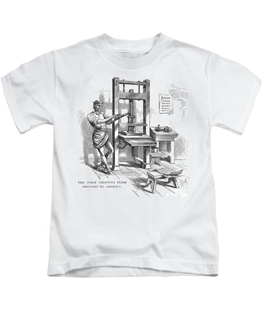 1639 Kids T-Shirt featuring the photograph Printing Press, 1639 by Granger