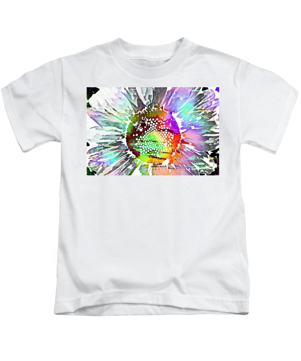 Psychedelic Daisy Kids T-Shirt featuring the digital art Psychedelic Daisy 2 by Barbara Griffin