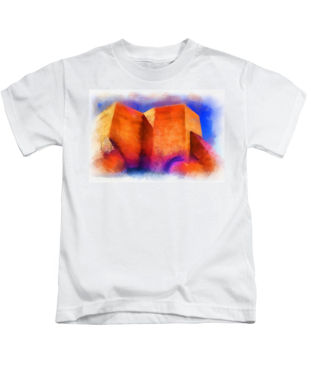 Santa Kids T-Shirt featuring the digital art Ranchos Nave - Watercolor by Charles Muhle