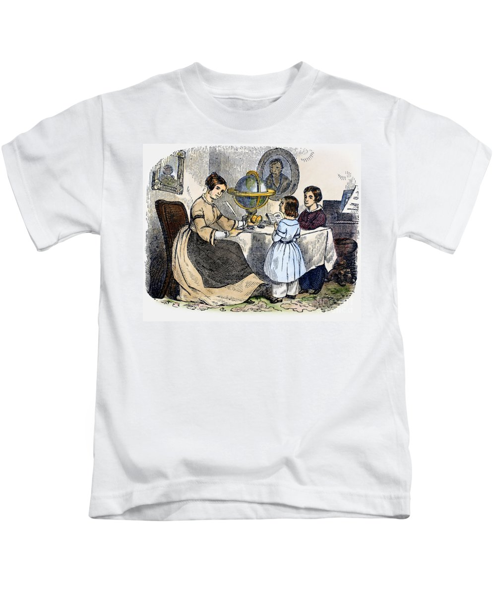 1866 Kids T-Shirt featuring the photograph Reading, 1866 by Granger