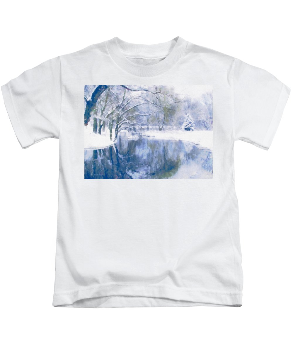Landscape Kids T-Shirt featuring the mixed media Reflections Of Winter by Georgiana Romanovna