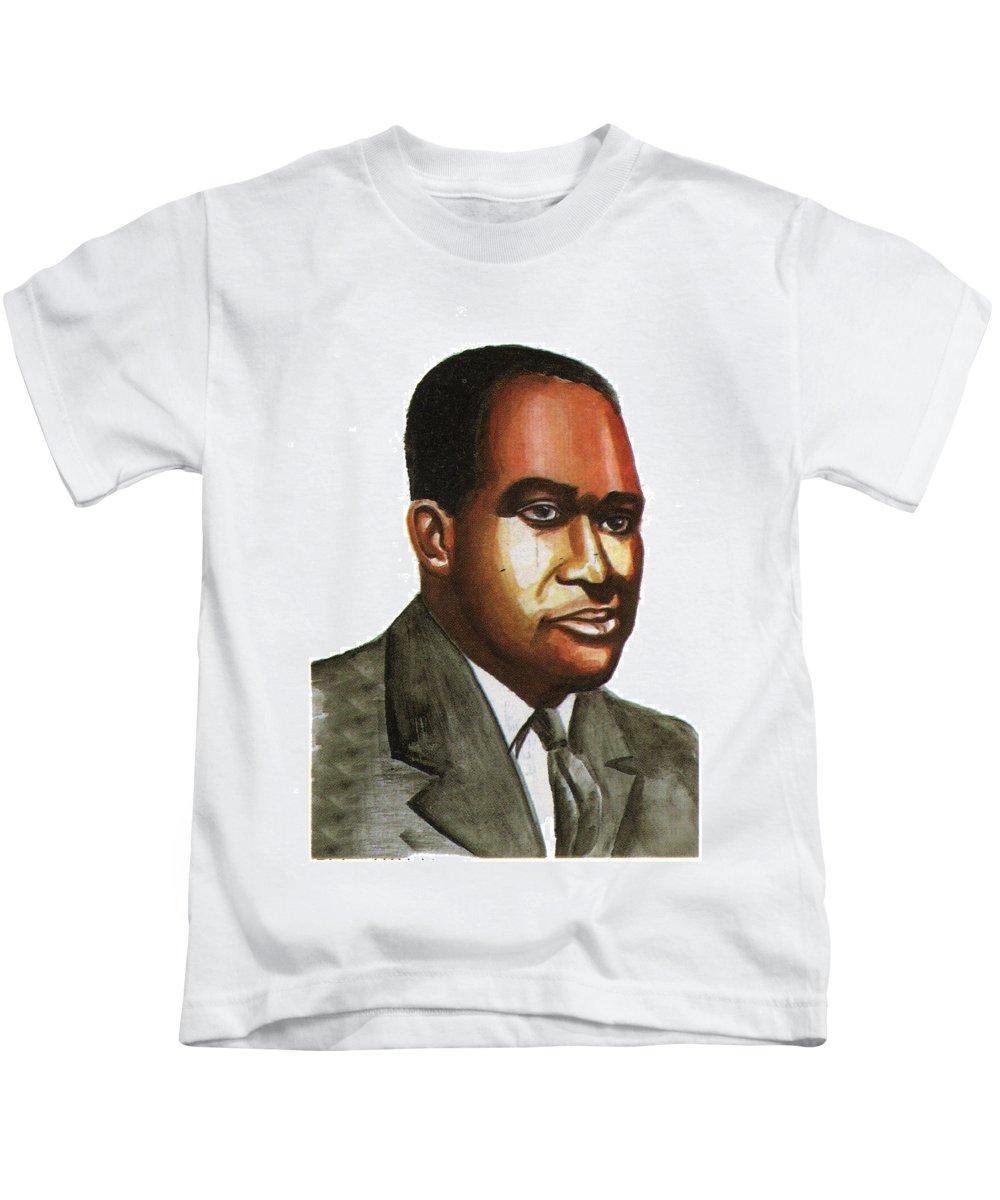 Portraits Kids T-Shirt featuring the painting Richard Wright by Emmanuel Baliyanga