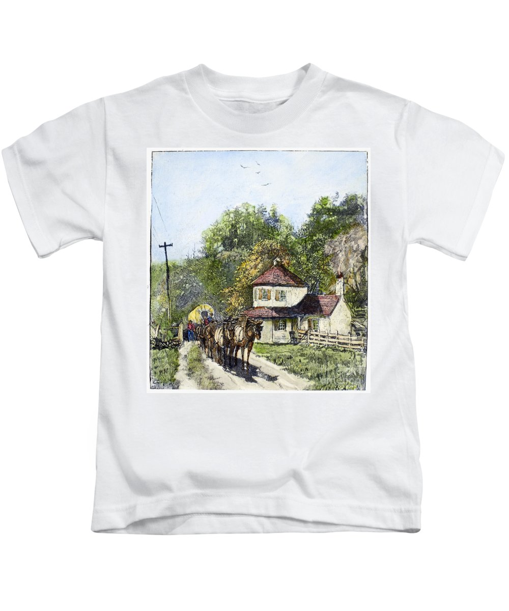 1879 Kids T-Shirt featuring the photograph Road Travel, 19th Century by Granger