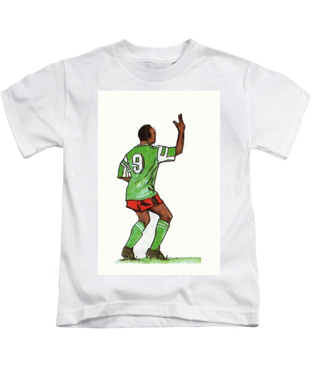 Portraits Kids T-Shirt featuring the painting Roger Milla by Emmanuel Baliyanga