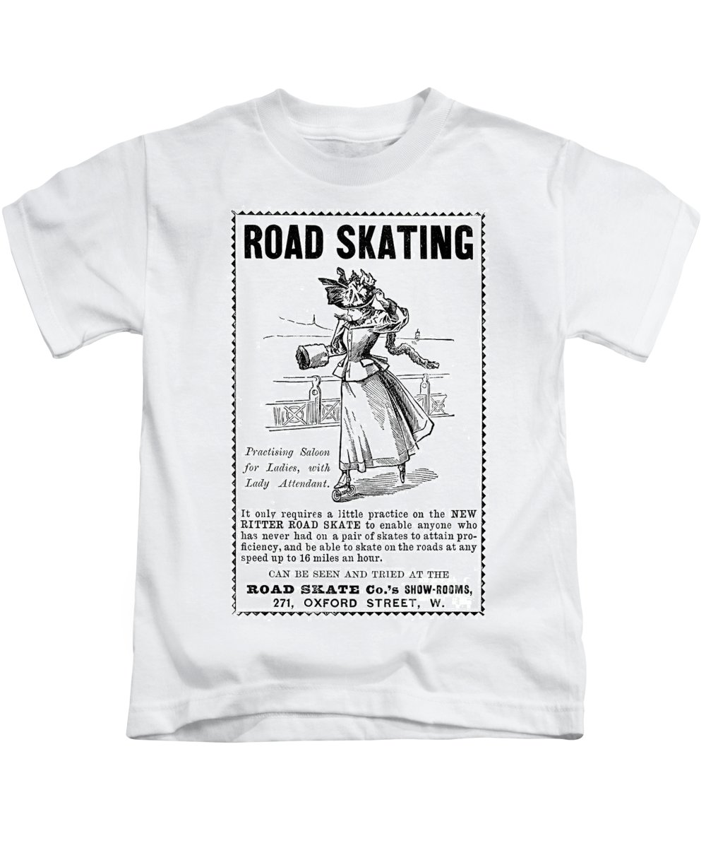 1896 Kids T-Shirt featuring the photograph Roller Skates, 1896 by Granger