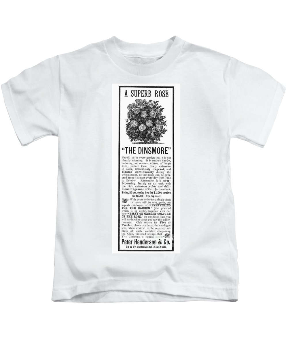 1890 Kids T-Shirt featuring the photograph Rose Advertisement, 1890 by Granger