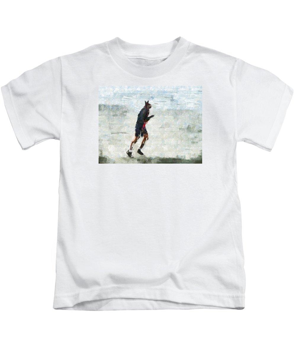 Bionic Kids T-Shirt featuring the digital art Run Rabbit Run by Steve Taylor