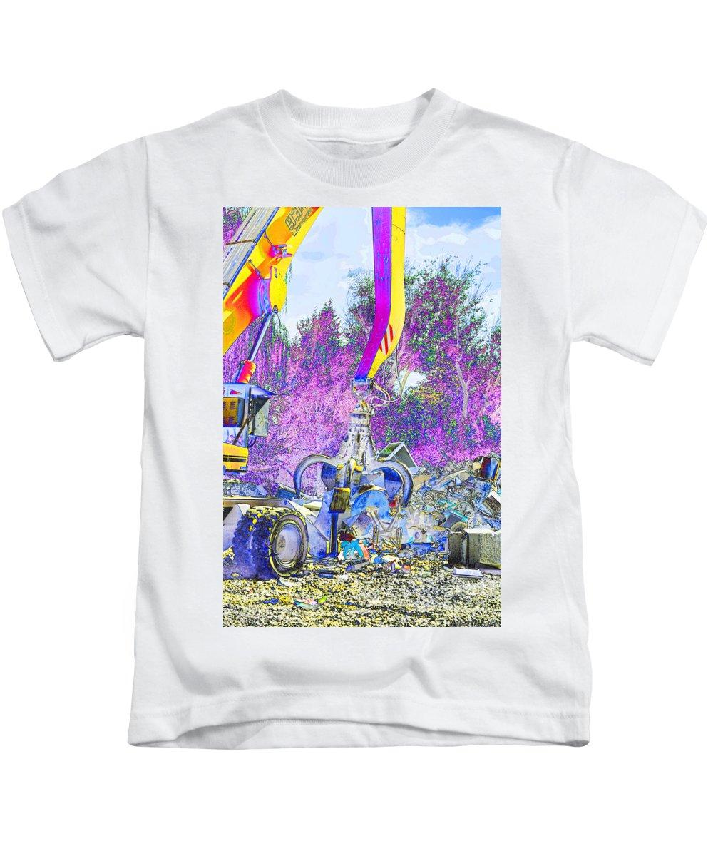 Metal Kids T-Shirt featuring the digital art Rusty Metal Stuff Vi by Debbie Portwood