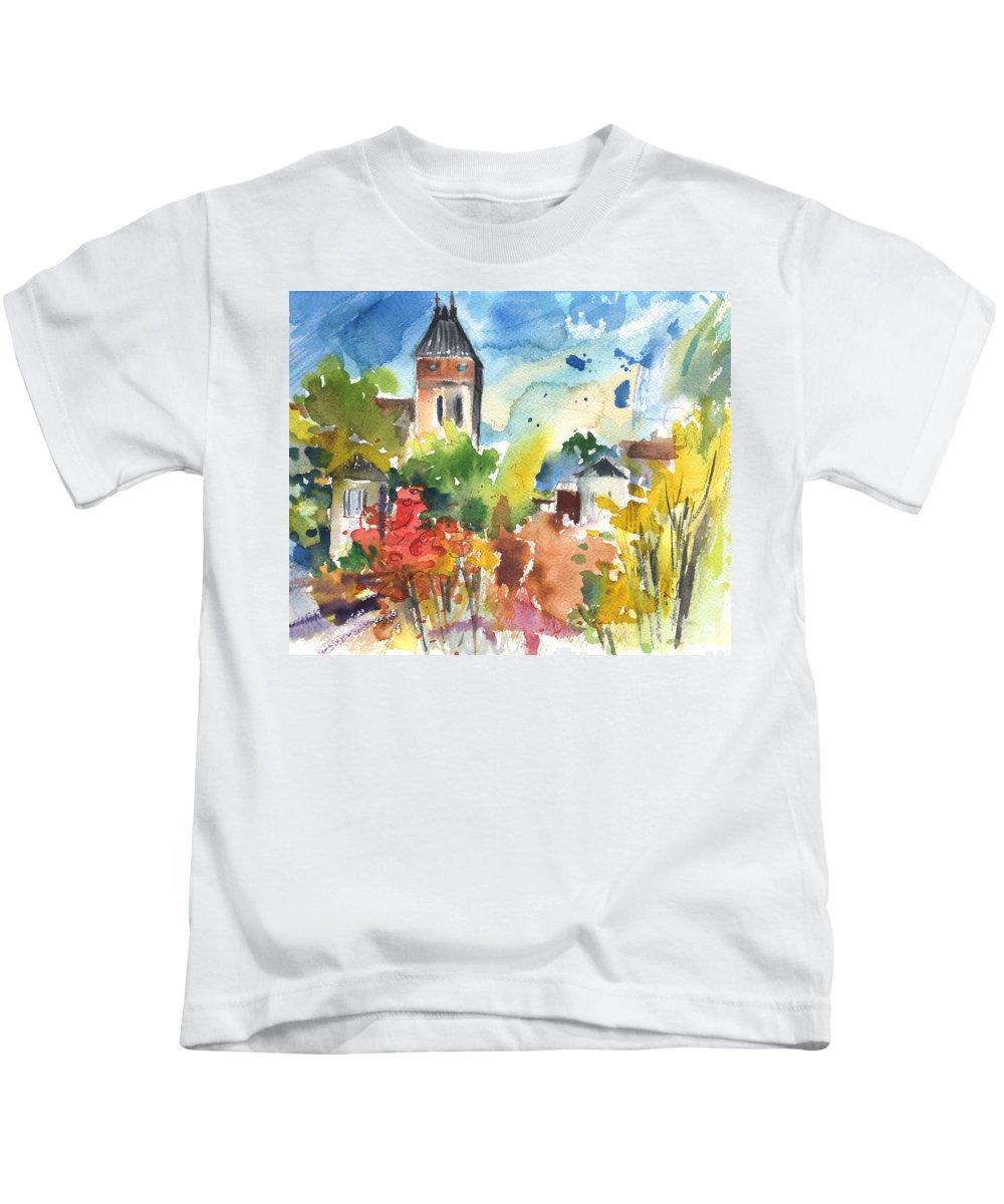 Travel Kids T-Shirt featuring the painting Saint Bertrand De Comminges 05 by Miki De Goodaboom