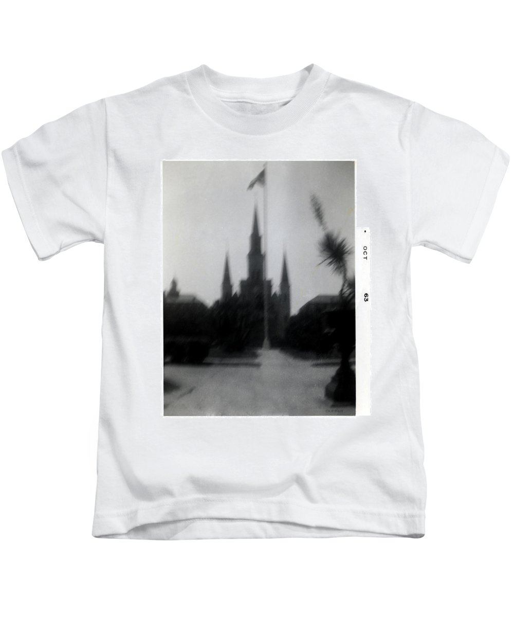 Louisiana Kids T-Shirt featuring the photograph Saint Louis Cathedral October 1963 by Doug Duffey