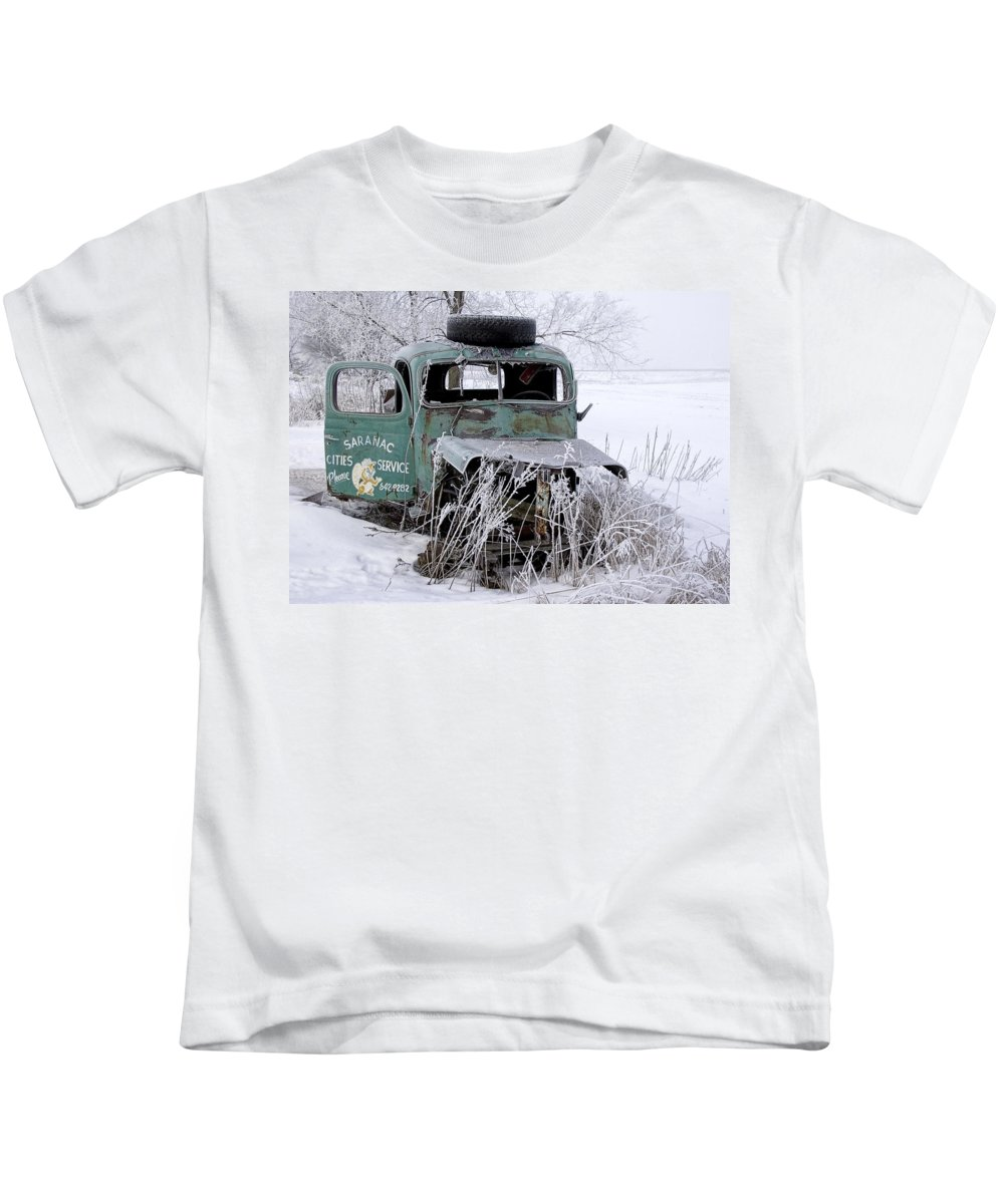 Art Kids T-Shirt featuring the photograph Saranac Cities Service Truck by Randall Nyhof