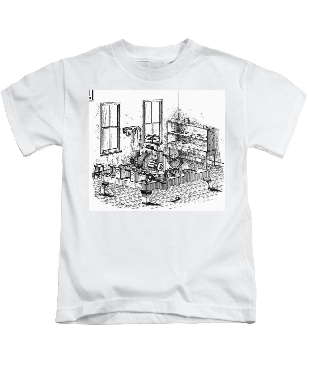 1850 Kids T-Shirt featuring the photograph Screw-making Machine by Granger