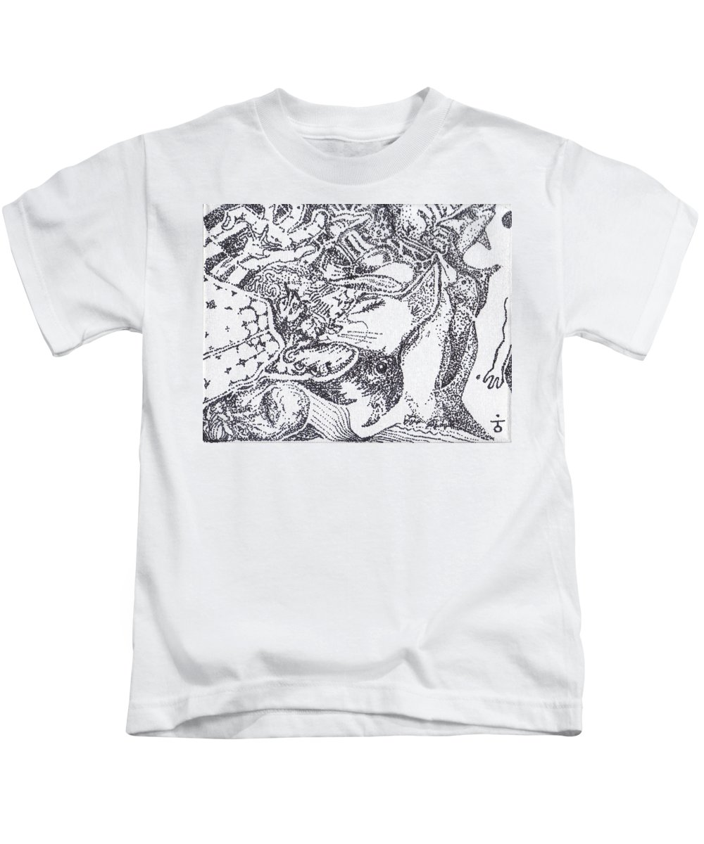 Stippling Kids T-Shirt featuring the painting Searchers And Swimmers by Charles Kabrich