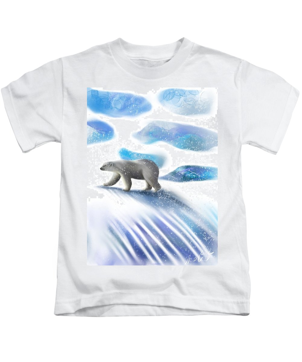 Polar Bear Kids T-Shirt featuring the digital art Searching For The Sun by Heidi Creed