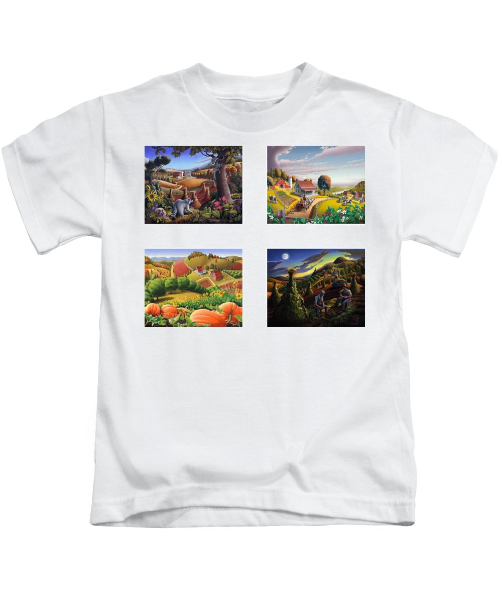 Folk Art Kids T-Shirt featuring the painting seasonal farm country folk art-set of 4 farms prints amricana American Americana print series by Walt Curlee