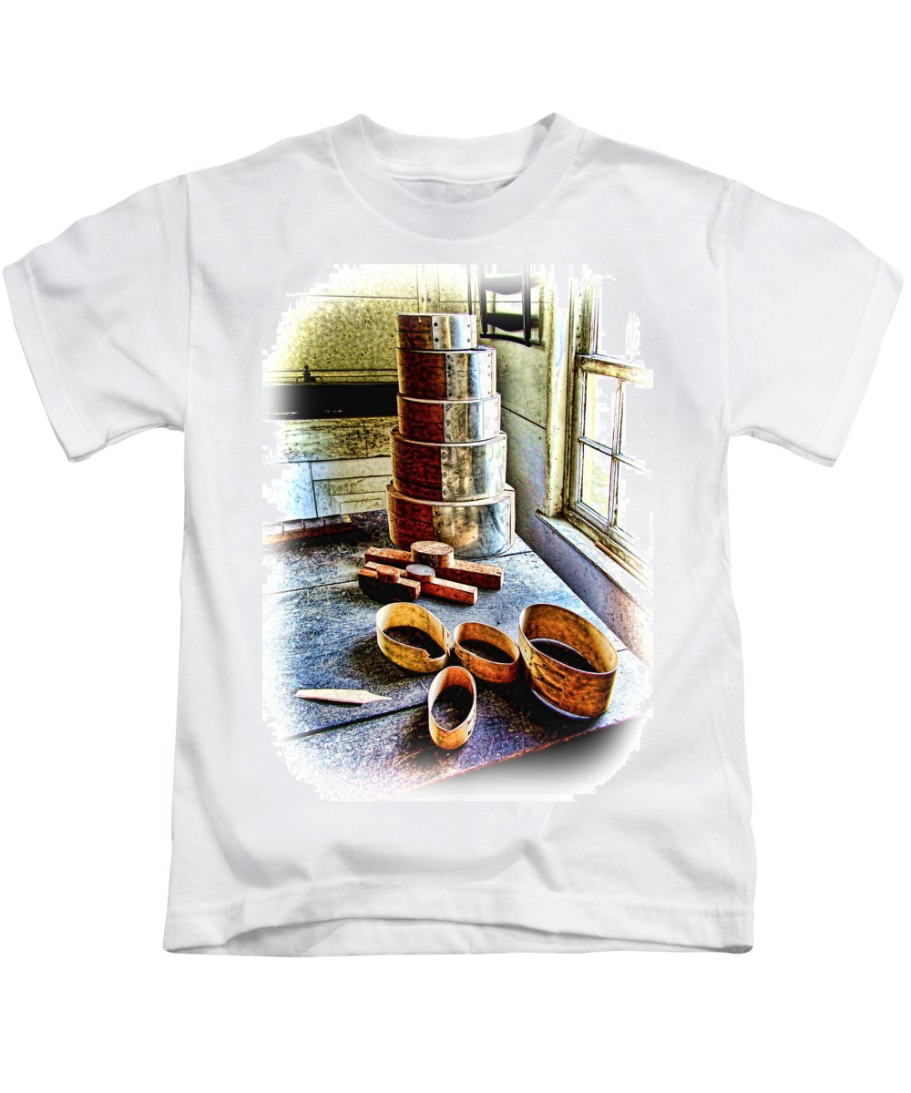 Wooden Box Kids T-Shirt featuring the photograph Shaker Box Making Vignette by Mark Sellers