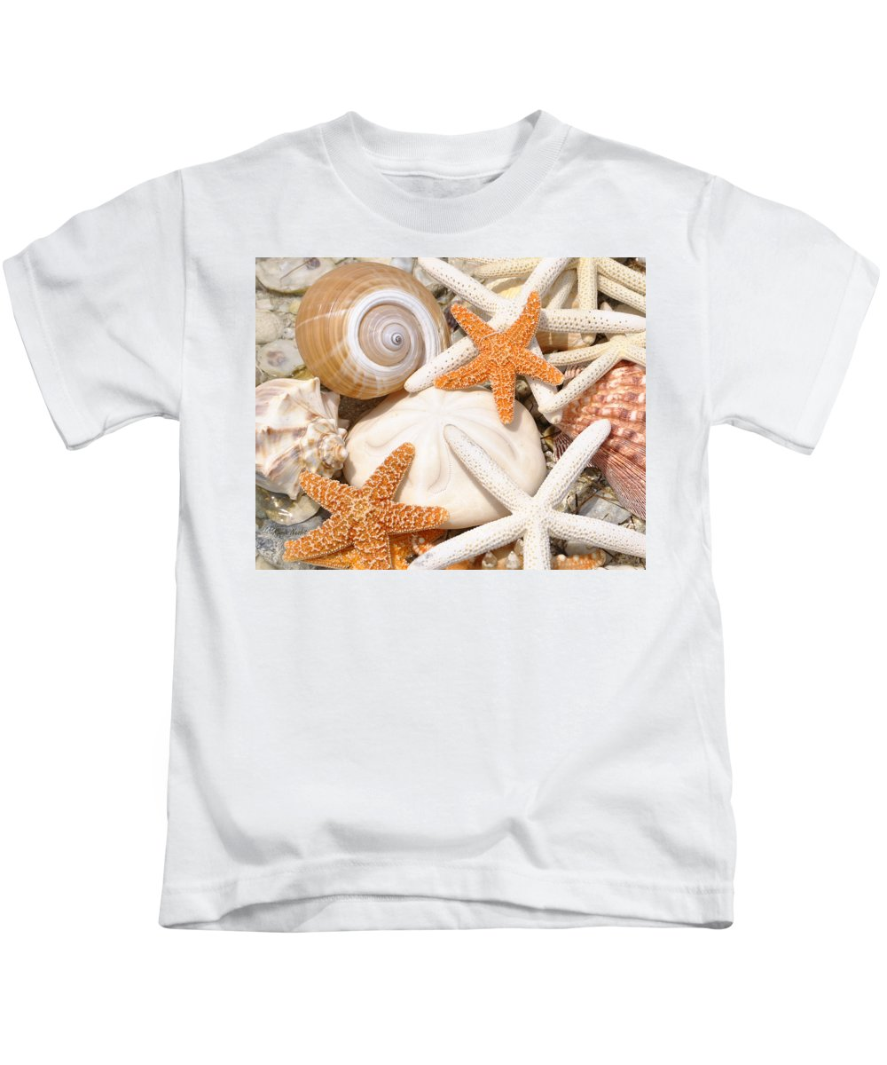 Sea Shells Kids T-Shirt featuring the photograph Shellebration by Maria Nesbit