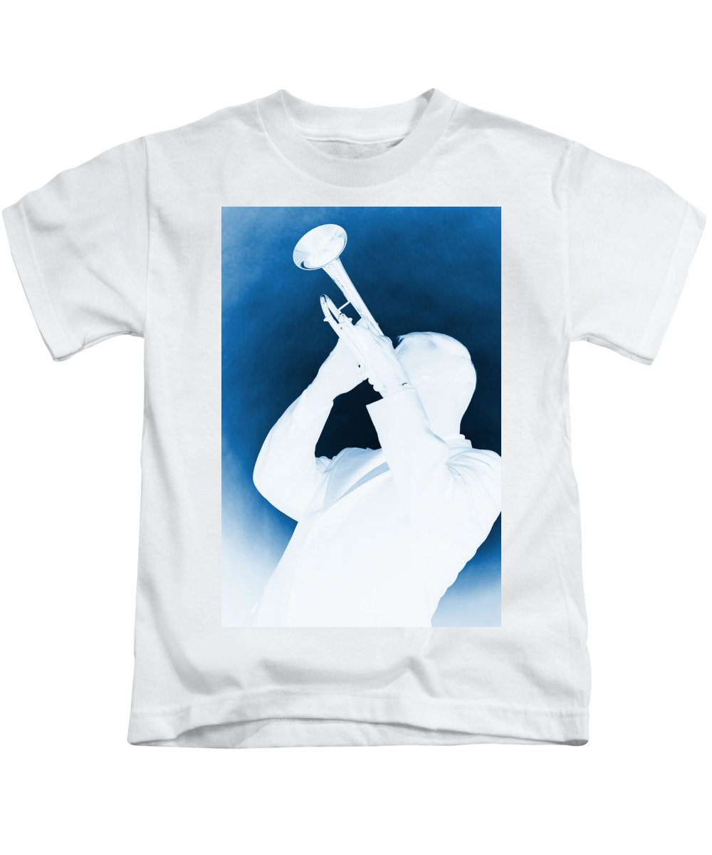 Fine Art Kids T-Shirt featuring the photograph Silhouette Trumpet by M K Miller